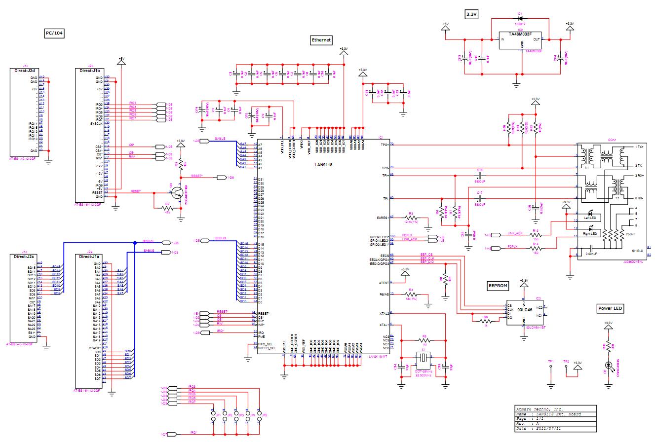LAN9118拡張ボード回路図